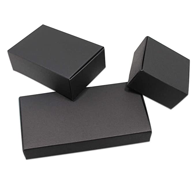 3ee3fabf1beb Amazon.com: MEIZOKEN 50pcs Black Craft Kraft Paper Box Packaging Box ...