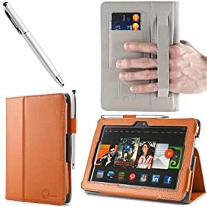 i-BLASON Kindle Fire HDX 7 inch Tablet Leather Case Cover / Stylus (With Smart Cover Function: Automatically Wakes and Puts the Kindle Fire HDX to Sleep) (NOT Compatible with Kindle Fire HD 7) 3 Year Warranty (Orange)