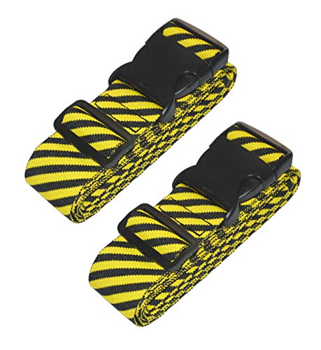 Lc.Courage Adjustable Luggage Straps/Travel Bag Strap/Suitcase Belts (Yellow/Black 2Pack) ()