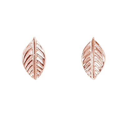 7793a7b0d Humble Chic Tiny Leaf Studs - 925 Sterling Silver Dainty Branch Post Ear Stud  Earrings,
