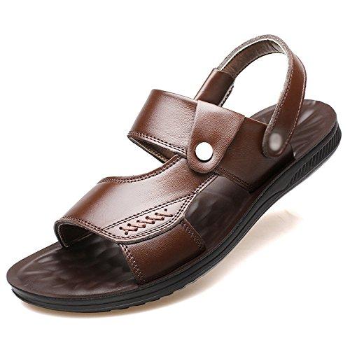 sandali con Marrone in sandali uomo da uomo da in estiva pelle morbidi da WFL da fondo Sandali di pelle spiaggia uomo xRwp6pZq