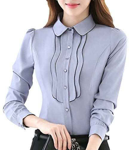 JHVYF Women's Casual Chiffon Button Down Shirt Ladies Long Sleeve Slim Fit Blouse Tops Grey US 8(Asian Tag 3XL)