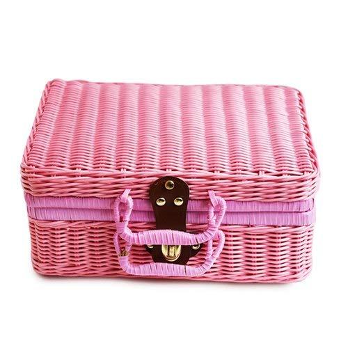 SeedWorld Storage Baskets - Travel Picnic Basket Handmade Wicker Storage Case Vintage Suitcase Props Box Weave Bamboo Boxes Outdoor Rattan Organizer 1 PCs -