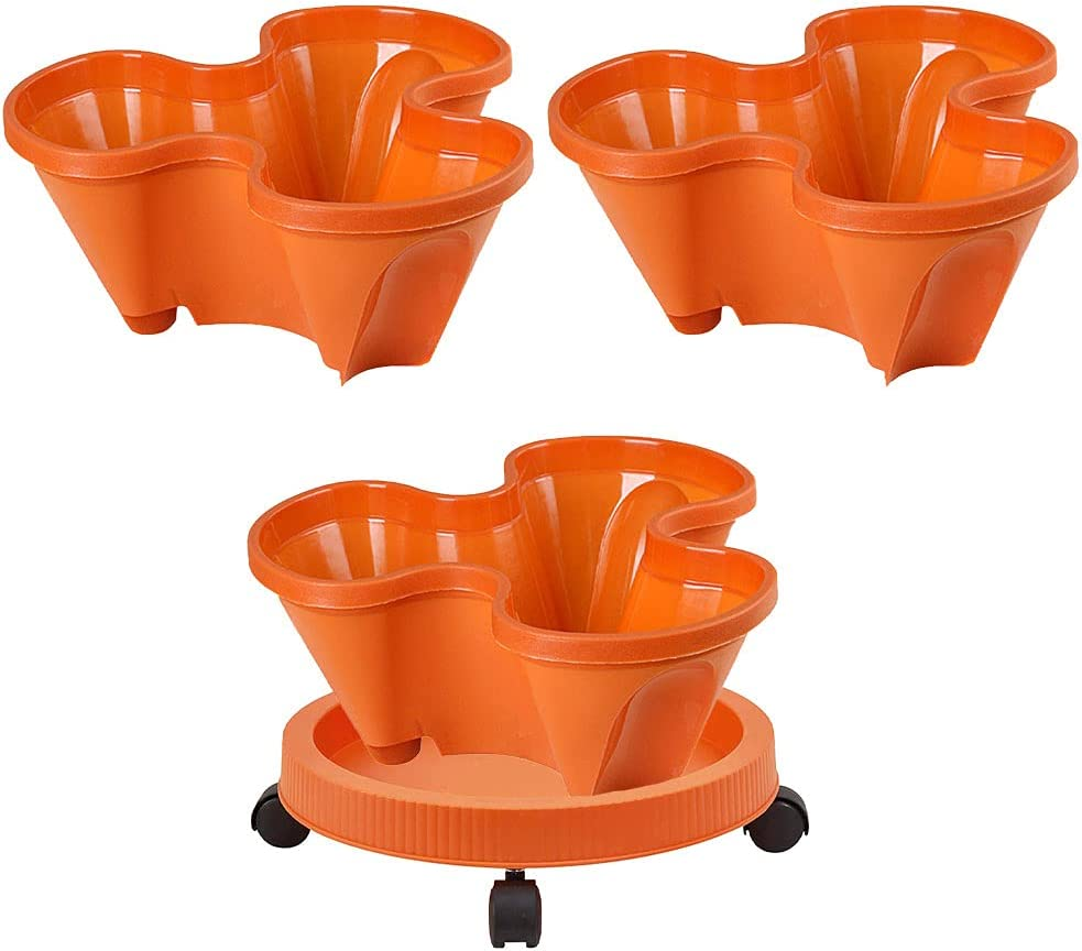 3 Tiers Herbs Planter with Tray and Wheels Stackable Garden Planter Strawberry Planter Pot Gardening Indoor Outdoor Stacking Garden Pots