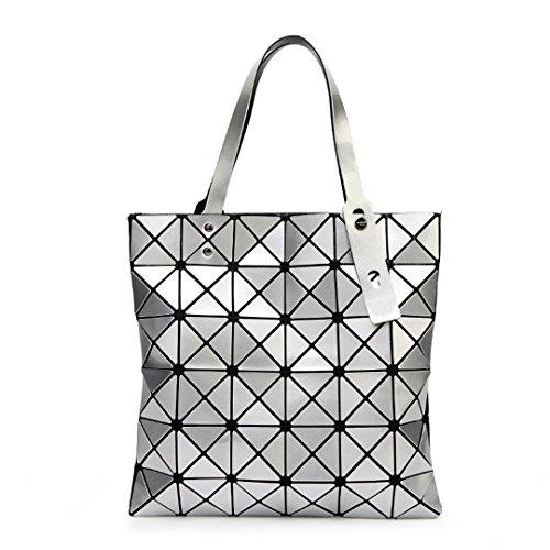 KJHGYBH H Bag Female Folded Ladies Geometric Plaid Bag Casual Tote Women H Bag Mochila Shoulder Bag Silver