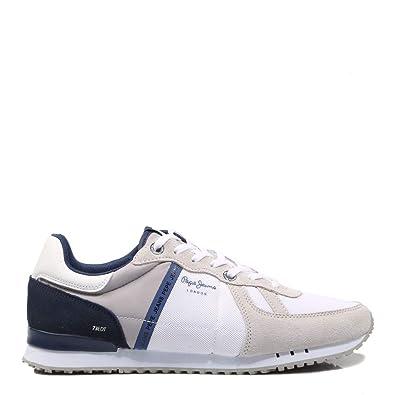 new concept ad238 0f336 Pepe Jeans, Tinker Blue PMS30508, Blaue und weiße Turnschuhe ...