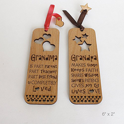 Set of 2 Grandma and Grandpa Laser cut and Engraved Natural Wood Bookmark