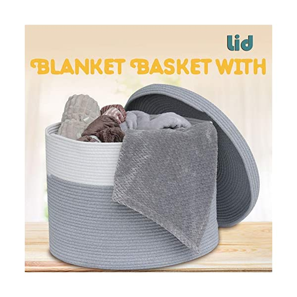 Extra Large Cotton Rope Storage Nursery Baskets with Lid Toys Blankets Laundry Baskets for Living Room Nursery Room 21 in X 21 in X 15 in (Grey)