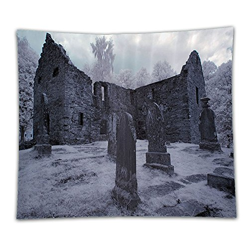 Beshowereb Fleece Throw Blanket Gothic Decor Collection Old Gothic Cemetery Church Tomb and Tombstone Mysticism Spooky Forest Style Po