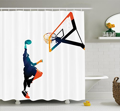 Ambesonne Sports Decor Collection, High Contrast Silhouette Artwork of an Athlete Slam Dunking a Basketball Image, Polyester Fabric Bathroom Shower Curtain Set with Hooks, Teal Blue Orange (Sports Silhouettes)
