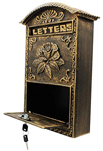 - Locking Wall Mounted Mailbox - Bronze Vintage Aluminum with Rose Design Residential Secure Locking Mail Letter Box