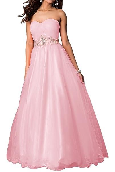 Gorgeous Novia largo escote corazón exquisito Rhinestones Partido Prom Vestido de noche formal vestidos de novia