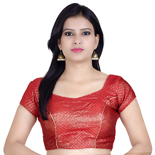 Chandrakala Women's Designer Bollywood Readymade Red Saree Blouse Padded Brocade Choli-Medium (B106RED3)