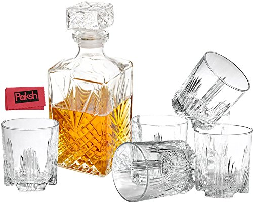 7 Piece Decanter & Whisky Glasses by Paksh/Bormioli Rocco Elegant Whiskey Decanter with Stopper and 6 Cocktail Glasses Gift Set