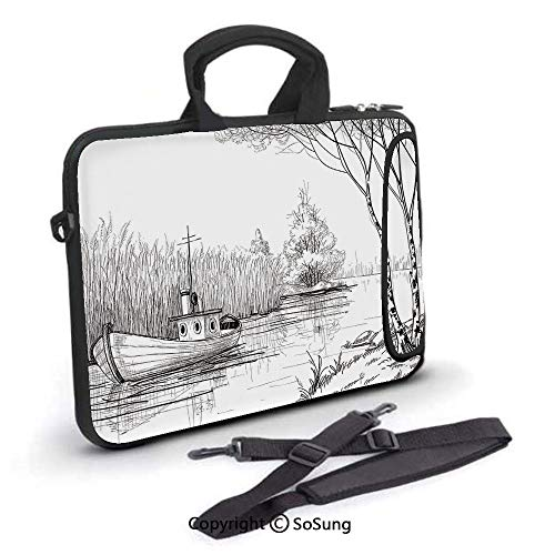 10 inch Laptop Case,Boat on the River by the Water Reeds Fishing Lake Plants Hand Drawn Style Nature Art Neoprene Laptop Shoulder Bag Sleeve Case with Handle and Carrying & External Side Pocket,for Ne