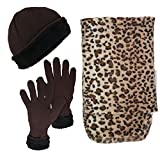 Women's 3-Piece Hat, Gloves and Scarf Animal Print Winter Bundle (Giraffe)