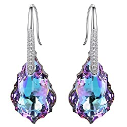 Sterling Silver CZ Drop Earrings with Swarovski Crystals