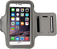 'Anti-Slip Neoprene Sports Armband for Smartphones up to 5.5 anti-sudor Case Sport Armband Mobile Case Armband Running Case With Stand For Keys, Cable, Cards Grey