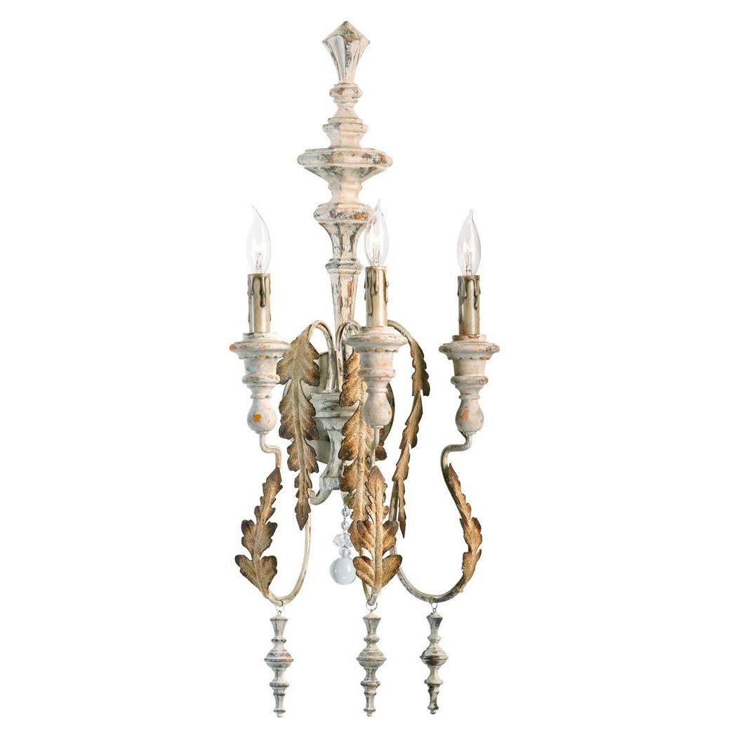 Marion French Country White Washed Wall Sconce from Kathy Kuo is a beautifully rustic elegant option for a French farmhouse, French country or European country inspired home.
