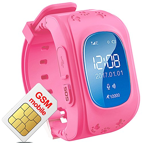 TURNMEON Smart Watch for Kids Children Smartwatch Phone with SIM Calls Anti-lost GPS Tracker SOS GPRS Bracelet Parent Control for Smartphone (Pink)