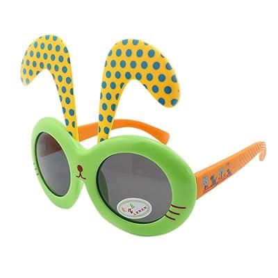 amovible Noir Dot Lapin oreille Ultraviolet-proof bébé Sunglasses-green Cadre