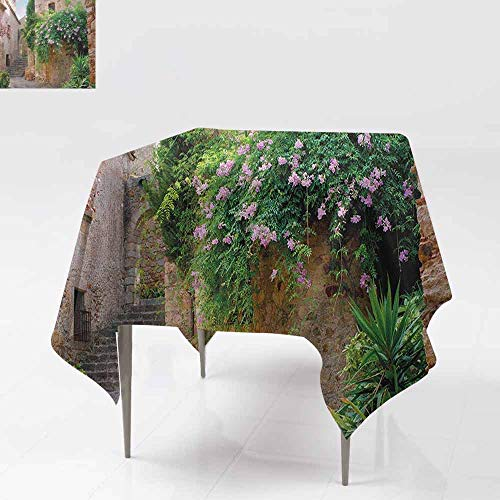(Spill-Proof Table Cover,Landscape,Summer Garden Flowers Marigold Stones Antique Ancient House in Spain Art Print,Dinner Picnic Table Cloth Home Decoration,70x70 Inch Multicolor )