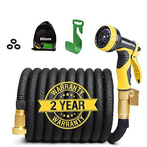 (Garden Hose, Lightweight Expandable Water Hose Set, Outdoor Expanding Flexible Double Latex Core Yard Hose with 3/4 Solid Brass Fitting, 9 Functions Spray Nozzle and Hanger)