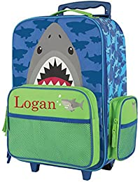 Embroidered Shark Rolling Suitcase - Children's Bag - Personalized