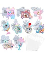 Resin Shaker Moulds Set Charms Pendant Jewellery Making Supplies 9 Silicone Trays with 5 Clear Seal Films