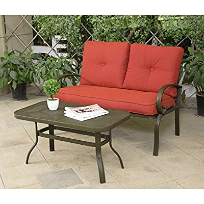 Cloud Mountain 2 PC Outdoor Loveseat Furniture Bistro Set Garden Patio, Metal Coffee Table, Bench Sofa with Cushions