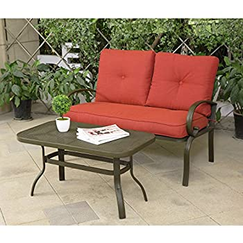 Cloud Mountain 2 PC Outdoor Loveseat Furniture Bistro Set Garden Patio,  Metal Coffee Table, Bench Sofa With Cushions, Brick Red