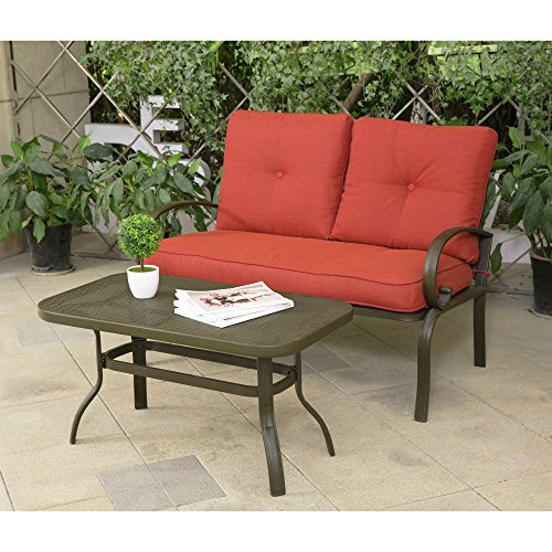 Cloud Mountain Patio Loveseat Outdoor 2 PCs Loveseat Furniture Set Garden Patio Love Seat Bench Sofa With Cushions, Brick Red by Cloud Mountain