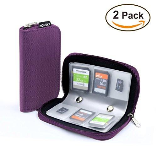 2 Set Memory Card Holder, HONSKY 22 Slot SD CF SDHC SDXC MMC Micro SD SecureDigital Memory CompactFlash Cards Carrying Cases & Sleeves Bags Media Storage & Organization - Purple
