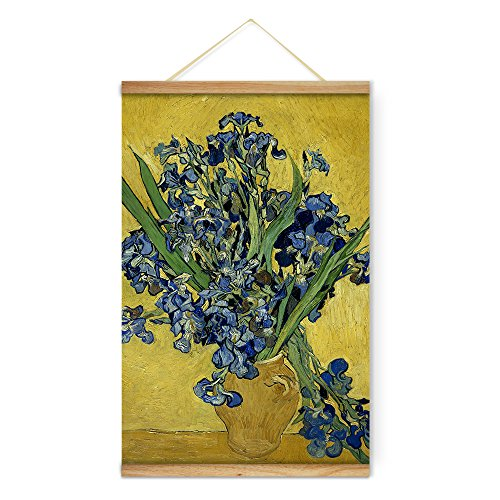 Van Gogh Iris (Impressionist Van Gogh Vase with Irises Against a Yellow Background Decoration Wall Art Pictures Canvas Wooden Scroll Paintings For Living Room Ready To Hang)