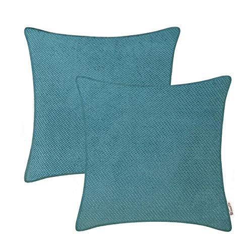 Comfy Bed Cushion - BRAWARM Supersoft Throw Pillow Covers Cases for Couch Sofa Bed Home Decor Solid Woven Corduroy Shining & Dull Contrast Dots Comfy Cushion Covers with Piped Edges Marine Blue 18 X 18 Inches Pack of 2
