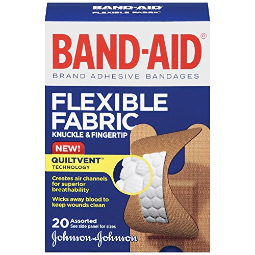Band-Aid Brand Flexible Fabric Knuckle And Fingertip Adhesive Bandages, For Wound Care, Assorted Sizes, 20 Count -