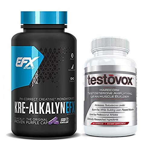 Kre Alkalyn (240 Capsules) and Testovox (60 Capsules) - Kre-Alkalyn Creatine Monohydrate Muscle Building Bundle | Professional Strength Bulk Supplements With Buffered Creatine Powder Pills Stack (All American Kre Alkalyn)