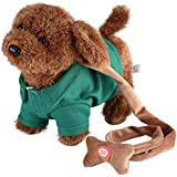 Electronic Pet Dog Cute Plush Toys Singing Walking Musical Puppy Pet Soft Toys For Baby Kids, Green