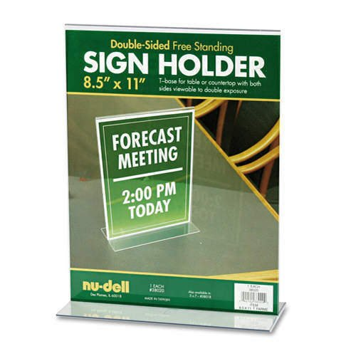 new-nudell-plastics-t-frame-base-desktop-sign-holder-acrylic-8-1-2-x-11
