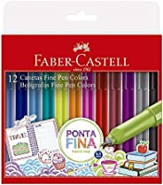 Caneta Ponta Fina, Faber-Castell, Fine Pen Colors, FPB/ES1ZF, 12 Cores