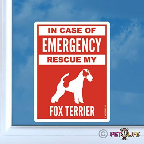 Smooth Fox Terrier Sticker - In Case of Emergency Rescue My Fox Terrier Sticker Vinyl Auto Window #2 dog safety smooth wire