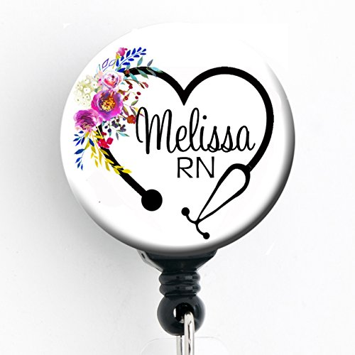 Retractable Badge Reel - Floral Heart Steth - Personalized Name - Badge Holder - Personalized Badge Reels