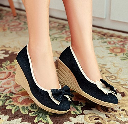 Black Womens Toe Slip Aisun Wedge Sweet On Heels Round Bows Dressy With Pumps Shoes dSqdpOw