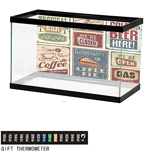 bybyhome Fish Tank Backdrop 1950s,Vintage Bar Restaurant Signs,Aquarium Background,48
