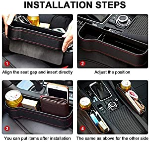 Adrinfly 2 Pack Car Seat Filler,Front Car Seat Gap Organizer - Multifunctional Car Seat Organizer with Cup Holder, PU Side Car Seat Organizer for Car Accessories Interior, Wallet, Cup Holder