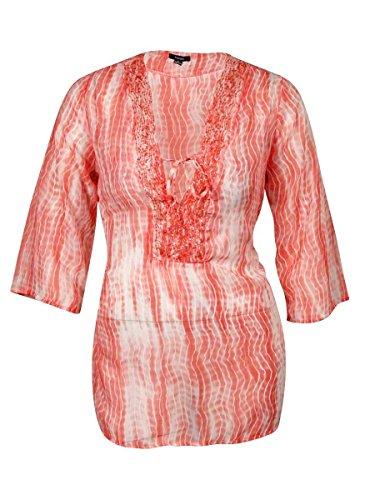 Raviya Mixed-Print Beaded Tunic Cover Up Womens Swimsuit,Medium - Juegos De Mafia