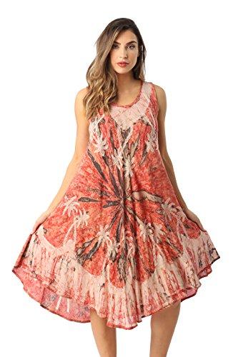 Riviera Sun Rayon Crepe Marble Sleeveless Umbrella Dress 21841-COR-1X