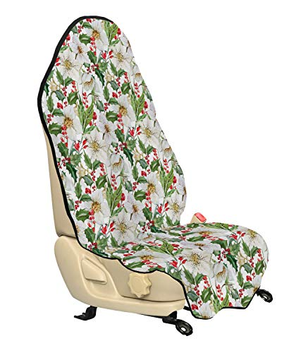 - Ambesonne Watercolor Car Seat Hoody, Christmas Themed Floral Poinsettia Winter Inspirations Berries Leaf, Car and Truck Seat Cover Protector with Nonslip Backing Universal Fit, Vermilion Green Yellow