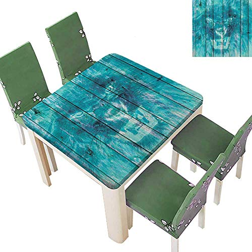 (Polyester Tablecloth Table Cover King Li Tiger Oak Planks Hippie Style Retro Image Cadet Blue for Dining Room 50 x 50 Inch (Elastic Edge))
