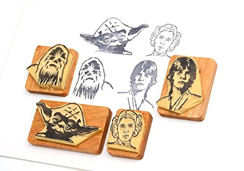 (Star Wars 2 - Hand carved rubber stamp set. Princess Leia, Yoda, Luke Skywalker and Chewbacca)